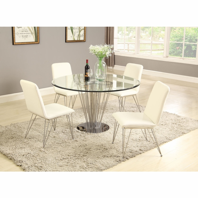 Chintaly - Fernanda 5 Pieces Dining Set Round Table With 4 Side Chairs - FERNANDA-5PC-RND