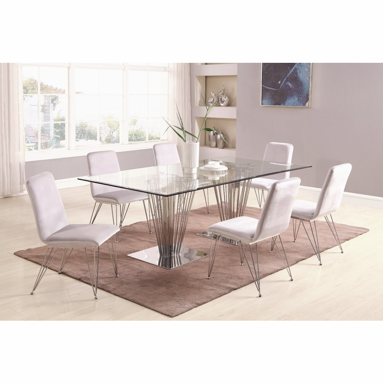Chintaly - Fernanda 7 Pieces Dining Set Rectangular Table With 6 Side Chairs - FERNANDA-7PC-RCT
