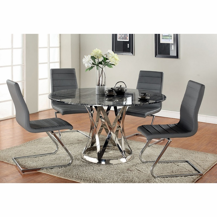 Chintaly - Janet 5 Piece Dining Set With Marble Top - JANET-DT-T_B_SC_SC