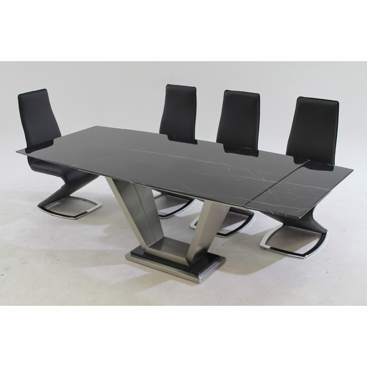 Chintaly - Jessy 5 Pieces Dining Set Table With 4 Tara Side Chairs In Black - JESSY-TARA-BLK