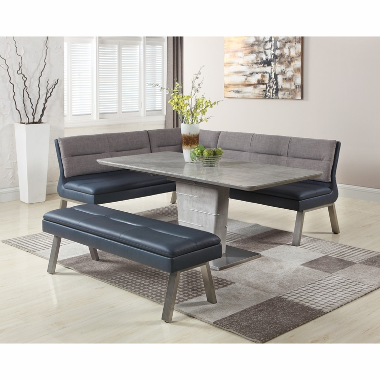 Chintaly - Jezebel 3 Pieces Dining Set Table With Nook And Bench - JEZEBEL-3PC