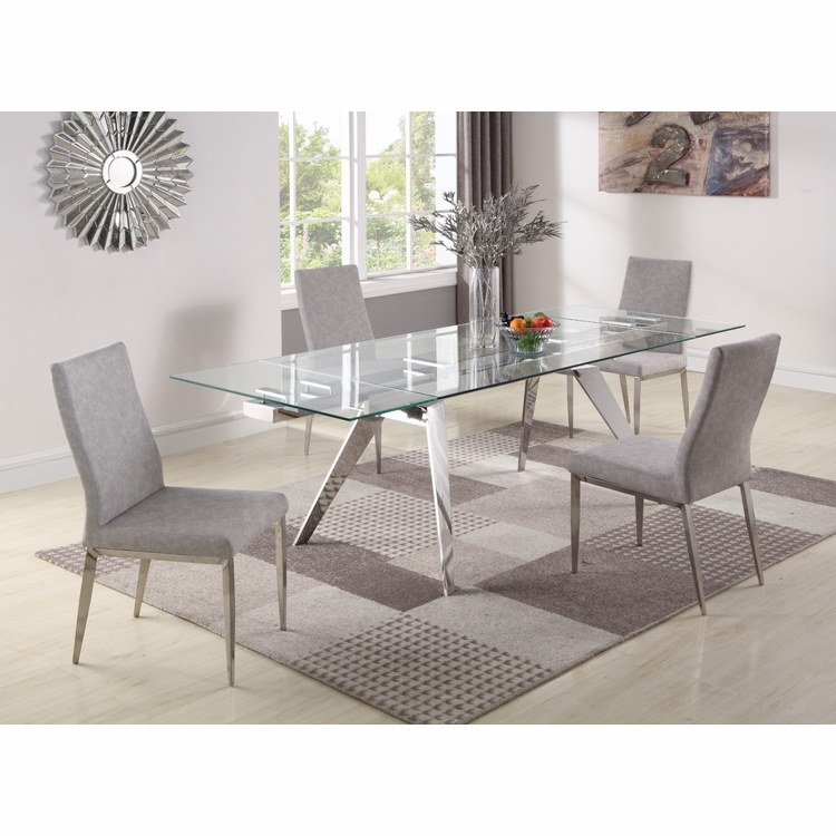 Chintaly Josie 5 Pieces Dining Set Table With 4 Desiree Side Chairs Josie  Desiree 5pc 15