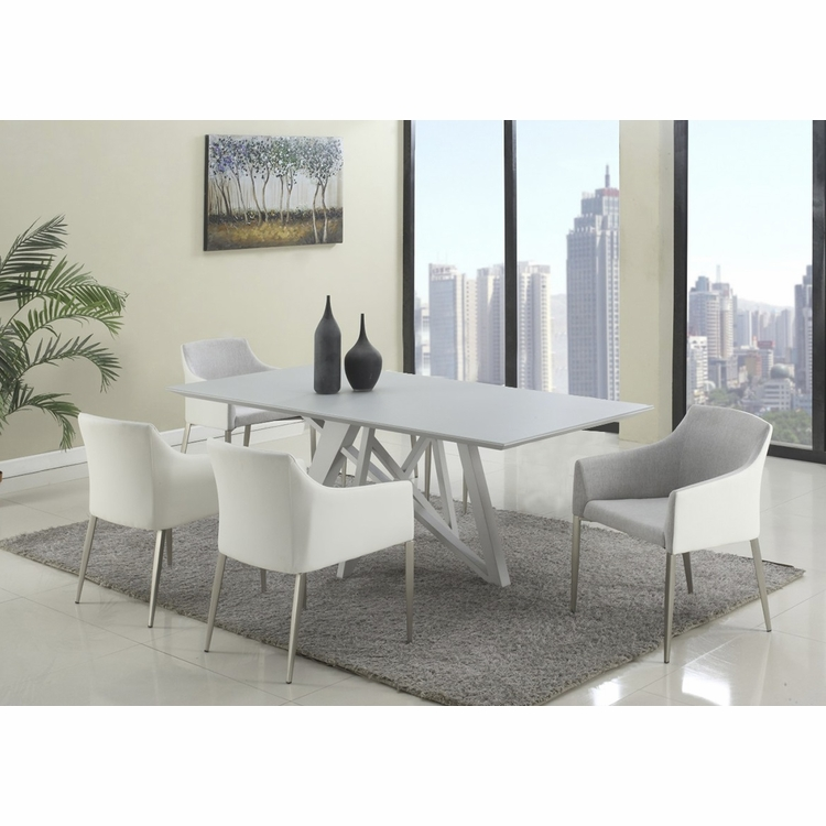Chintaly - Katie 5 Pieces Dining Set Table With 4 Arm Chairs In Grey - KATIE-5PC-GRY
