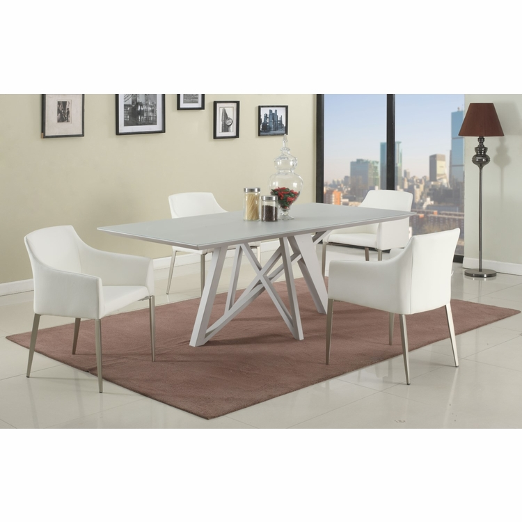 Chintaly - Katie 5 Pieces Dining Set Table With 4 Arm Chairs In White - KATIE-5PC-WHT