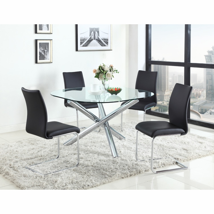 Chintaly - Leatrice 5 Pieces Dining Set Table With 4 Jane Side Chairs In Black - LEATRICE-RD-JANE-BLK