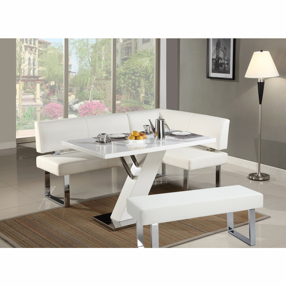 Fabulous Chintaly Linden 3 Piece Dining Table Nook And Bench Set Linden Dt Nook Bch Wht Gmtry Best Dining Table And Chair Ideas Images Gmtryco