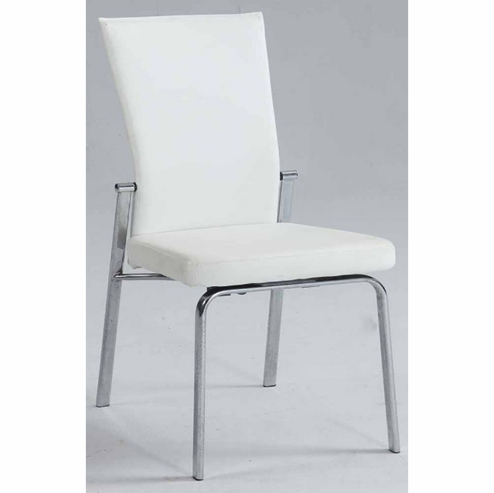 Chintaly Molly Motion Back Side Chair In White Pu Set