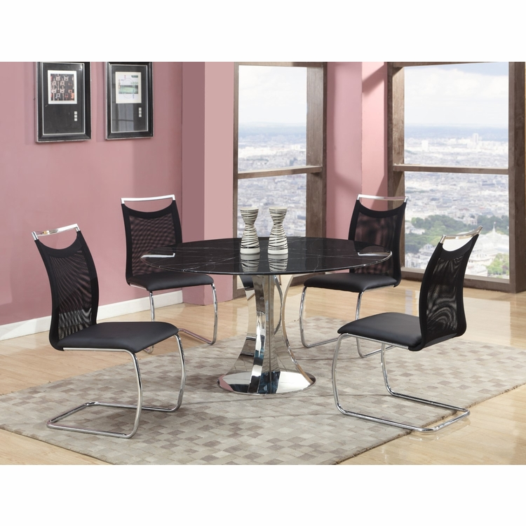 Chintaly - Nadine 5 Pieces Dining Set Table With 4 Side Chairs In Black - NADINE-5PC-BLK