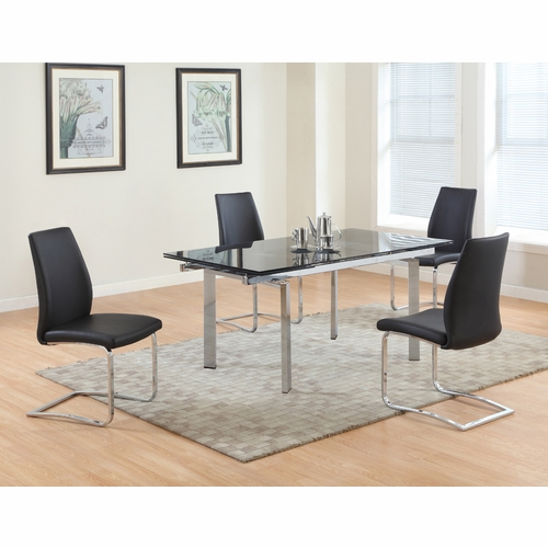 Chintaly - Paisley 5 Piece Dining Set - PAISLEY-DT-T_B_SC-BLK_SC-BLK