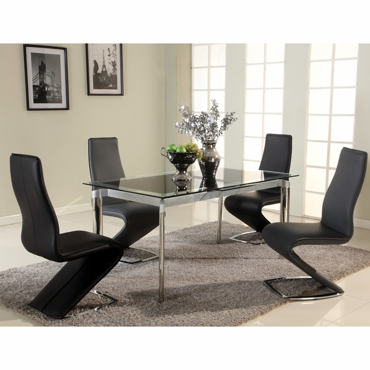 Chintaly - Tara Black 5 Piece Dining Set With Tara Side Chairs - TARA-DT-BLK_SC-BLK_SC-BLK