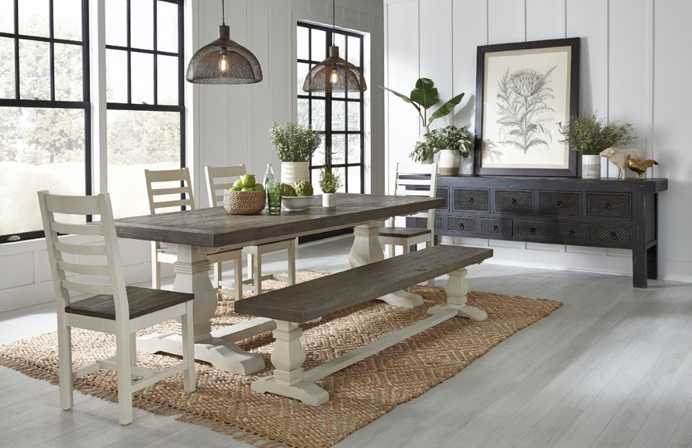Classic Home Caleb 94 Quot Two Tone Dining Table Latte Cream