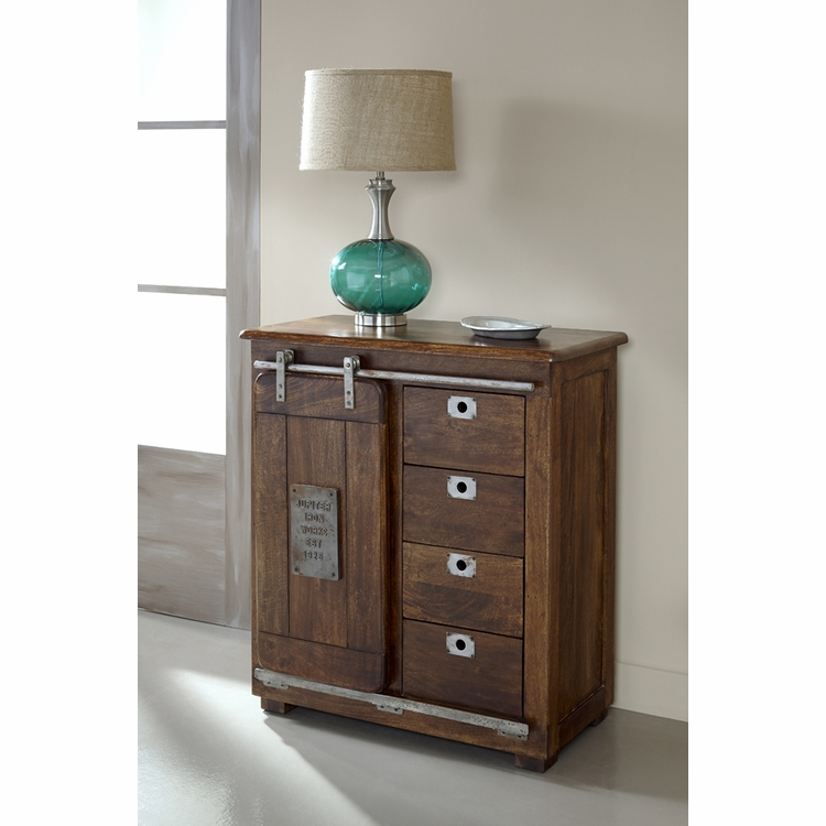 Coast to Coast Imports - Four Drawer One Door Cabinet In Warm Brown Mango - 68220