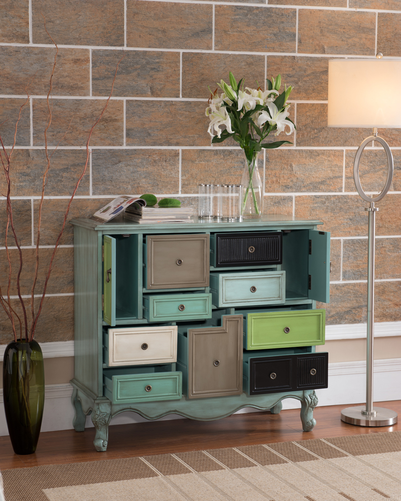Coast To Coast Imports Nine Drawer Two Door Cabinet In