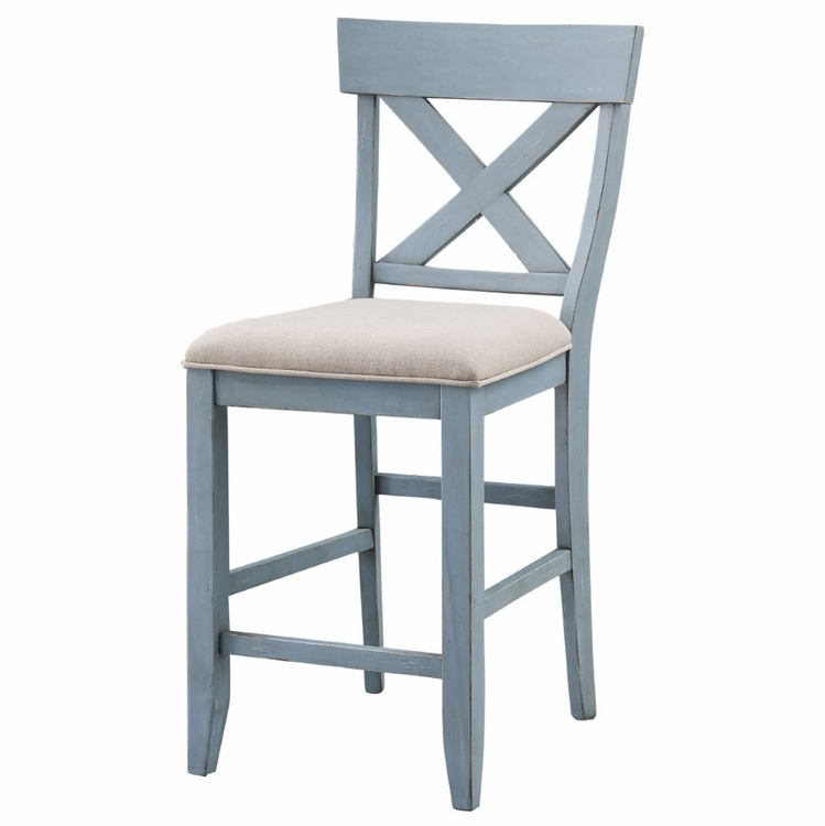 Coast To Coast - Set of 2 Bar Harbor Counter Height Dining Chairs in Bar Harbor Blue - 40300