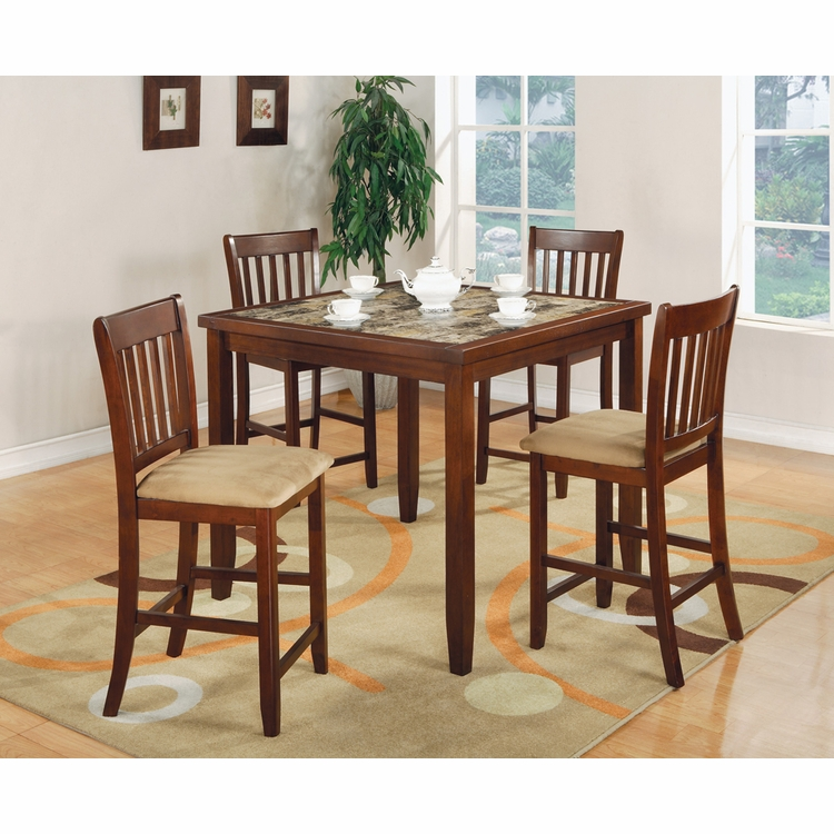 Coaster - 5 Pc Counter Height Table/Chairs Set in Cherry Finish - 150154