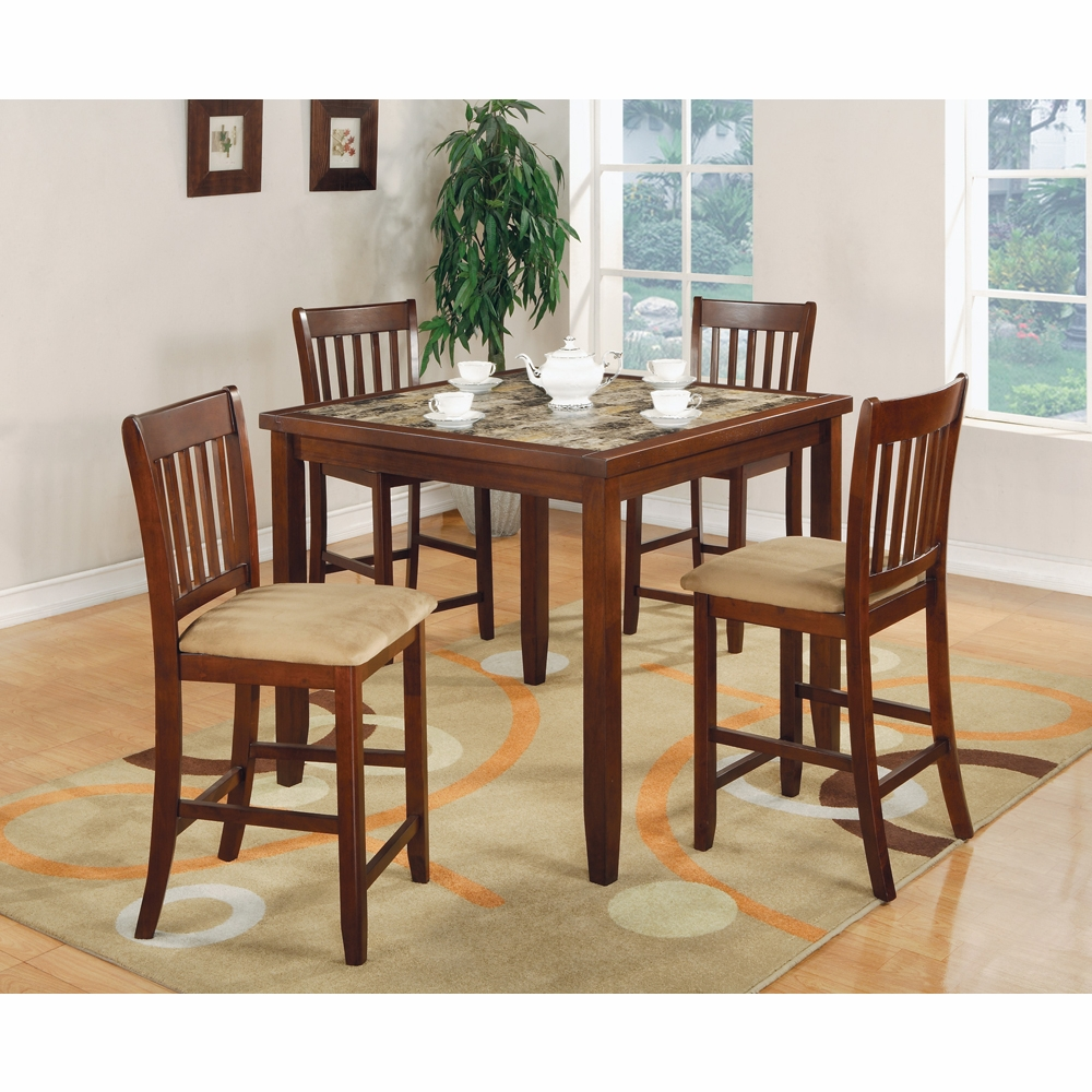Coaster 5 Pc Counter Height Table Chairs Set In Cherry Finish 150154