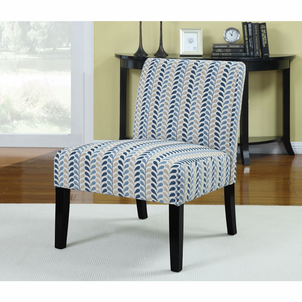 Awe Inspiring Coaster Accent Chair Blue Beige Leaf Pattern 902059 Machost Co Dining Chair Design Ideas Machostcouk
