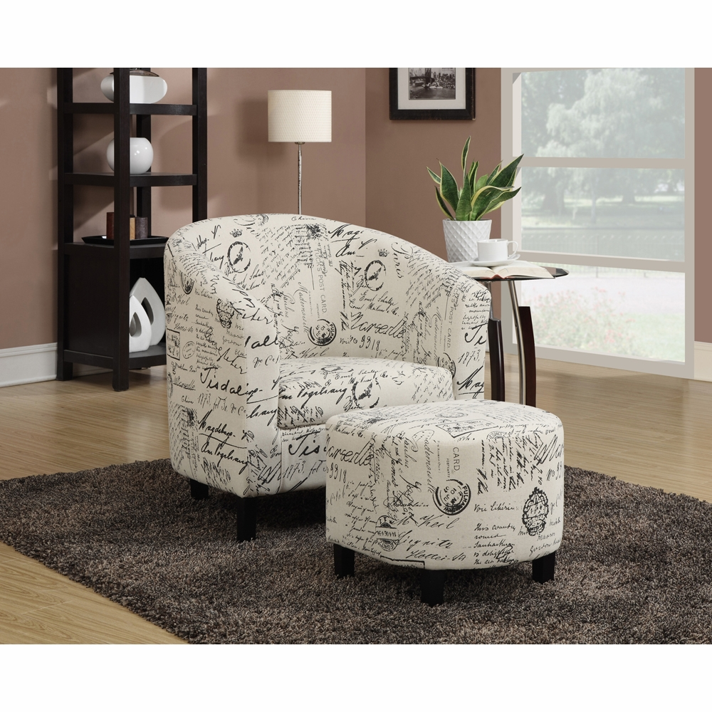 Amazing Coaster Accent Chair Ottoman Off White French Script Pattern 900210 Alphanode Cool Chair Designs And Ideas Alphanodeonline