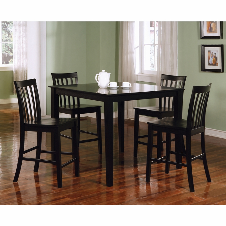 Coaster - Counter Height Table/Chairs 5 Pc Set in Black Finish - 150231BLK
