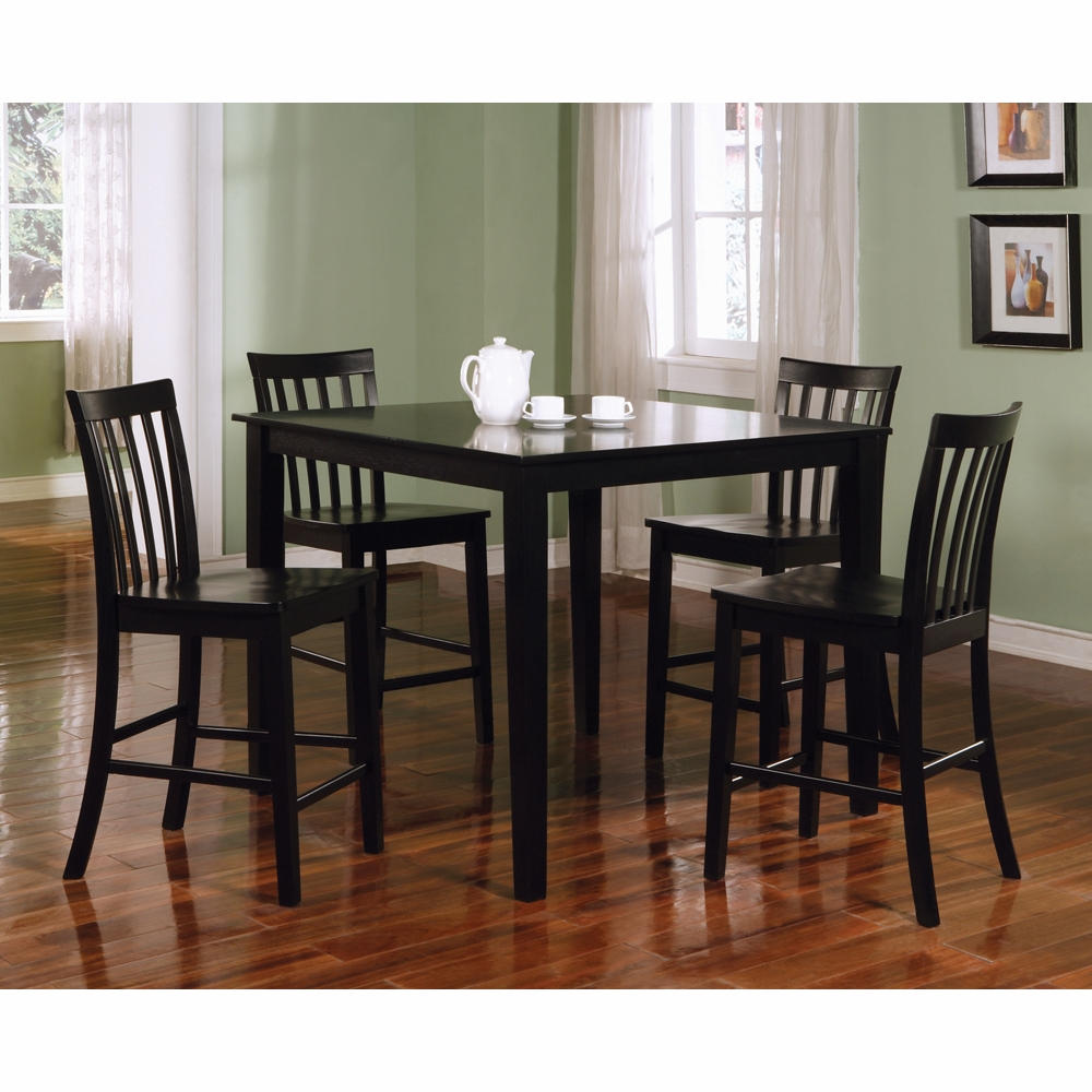 Coaster Counter Height Table Chairs 5 Pc Set In Black Finish 150231blk Hover To Zoom