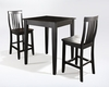 Crosley Furniture - 3 Piece Pub Dining Set with Tapered Leg and School House Stools in Black Finish - KD320007BK