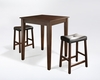 Crosley Furniture - 3 Piece Pub Dining Set with Tapered Leg and Upholstered Saddle Stools in Vintage Mahogany  Finish - KD320008MA