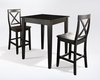 Crosley Furniture - 3 Piece Pub Dining Set with Tapered Leg and X-Back Stools in Black Finish - KD320005BK