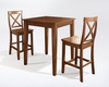 Crosley Furniture - 3 Piece Pub Dining Set with Tapered Leg and X-Back Stools in Classic Cherry  Finish - KD320005CH