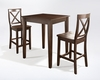 Crosley Furniture - 3 Piece Pub Dining Set with Tapered Leg and X-Back Stools in Vintage Mahogany  Finish - KD320005MA