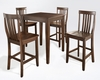 Crosley Furniture - 5 Piece Pub Dining Set with Tapered Leg and School House Stools in Vintage Mahogany  Finish - KD520007MA