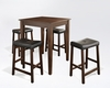 Crosley Furniture - 5 Piece Pub Dining Set with Tapered Leg and Upholstered Saddle Stools in Vintage Mahogany  Finish - KD520008MA