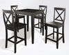 Crosley Furniture - 5 Piece Pub Dining Set with Tapered Leg and X-Back Stools in Black Finish - KD520005BK