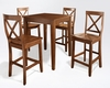 Crosley Furniture - 5 Piece Pub Dining Set with Tapered Leg and X-Back Stools in Classic Cherry  Finish - KD520005CH