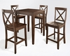 Crosley Furniture - 5 Piece Pub Dining Set with Tapered Leg and X-Back Stools in Vintage Mahogany  Finish - KD520005MA