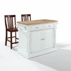 "Crosley Furniture - Butcher Block Top Kitchen Island in White Finish with 24"" Black School House Stools - KF300062WH"