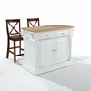 "Crosley Furniture - Butcher Block Top Kitchen Island in White Finish with 24"" Black X-Back  Stools - KF300063WH"