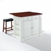 "Crosley Furniture - Drop Leaf Breakfast Bar Top Kitchen Island in White Finish with 24"" Cherry Upholstered Saddle Stools - KF300074WH"