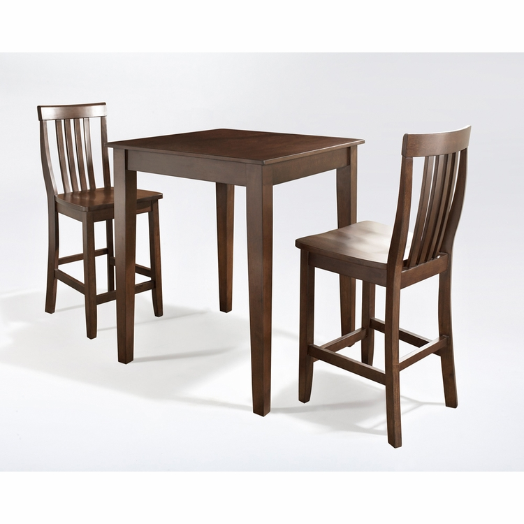 Crosley Furniture - 3 Piece Pub Dining Set with Tapered Leg and School House Stools in Vintage Mahogany  Finish - KD320007MA