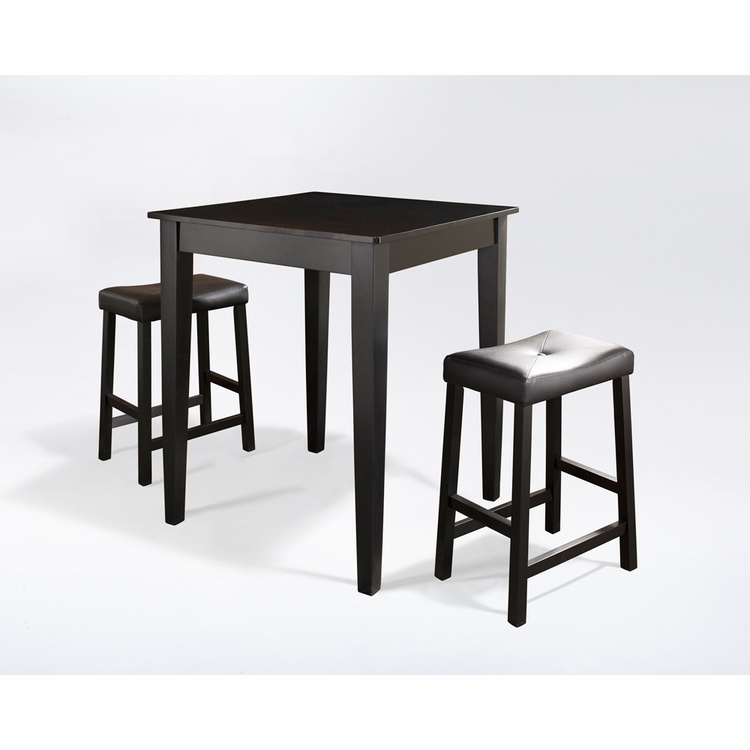 Crosley Furniture - 3 Piece Pub Dining Set with Tapered Leg and Upholstered Saddle Stools in Black Finish - KD320008BK