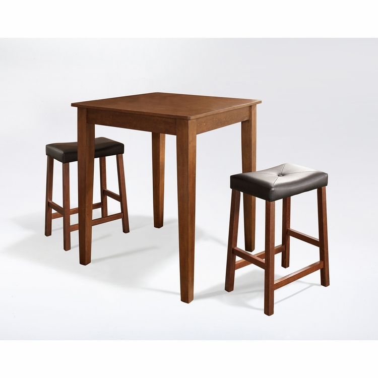 Crosley Furniture - 3 Piece Pub Dining Set with Tapered Leg and Upholstered Saddle Stools in Classic Cherry  Finish - KD320008CH