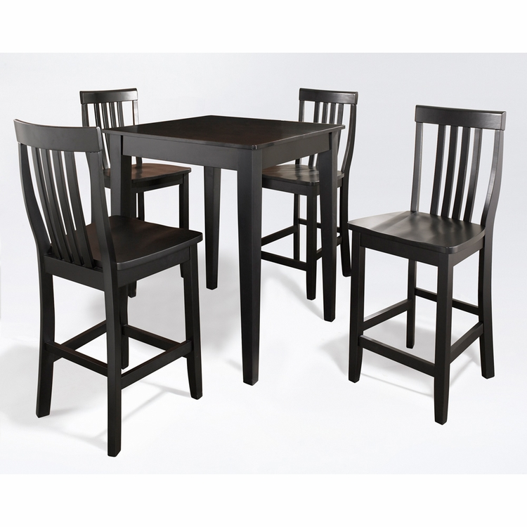 Crosley Furniture - 5 Piece Pub Dining Set with Tapered Leg and School House Stools in Black Finish - KD520007BK
