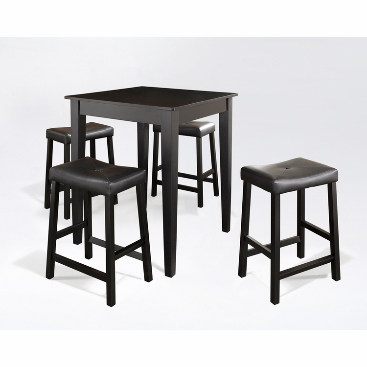 Crosley Furniture - 5 Piece Pub Dining Set with Tapered Leg and Upholstered Saddle Stools in Black Finish - KD520008BK