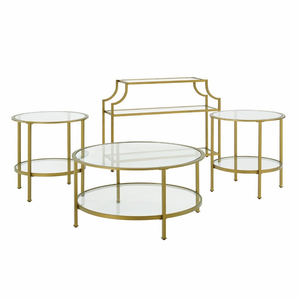 Crosley Furniture Aimee 4 Piece Set Console Coffee 2 Side Tables Kf13018gl