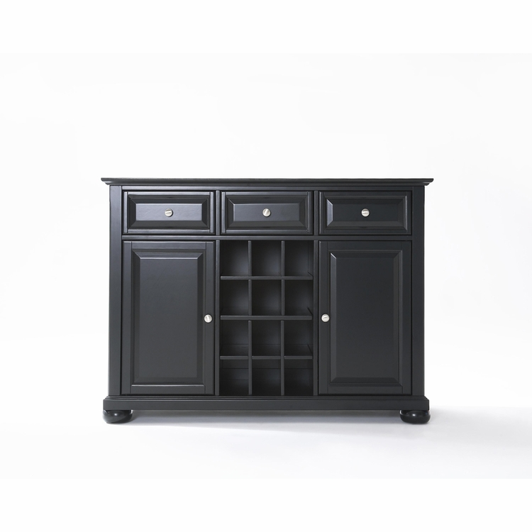 Crosley Furniture - Alexandria Buffet Server / Sideboard Cabinet with Wine Storage in Black Finish - KF42001ABK