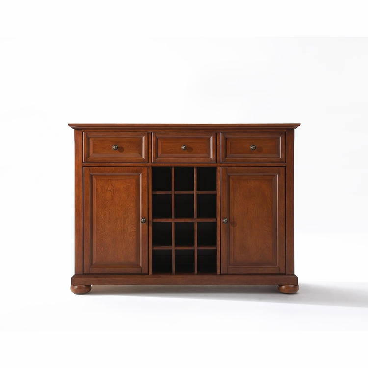 Crosley Furniture - Alexandria Buffet Server / Sideboard Cabinet with Wine Storage in Classic Cherry Finish - KF42001ACH