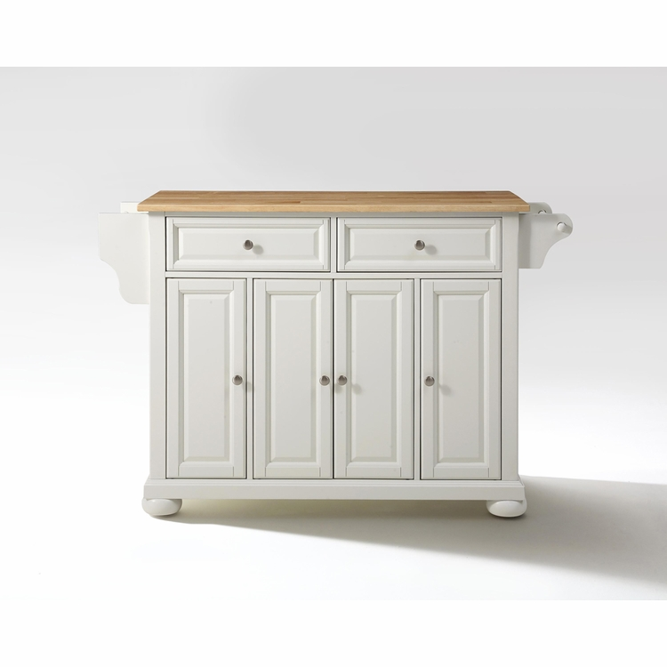 Crosley Furniture - Alexandria Natural Wood Top Kitchen Island in White Finish - KF30001AWH