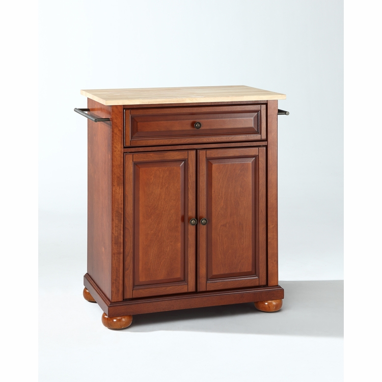 Crosley Furniture - Alexandria Natural Wood Top Portable Kitchen Island in Classic Cherry Finish - KF30021ACH