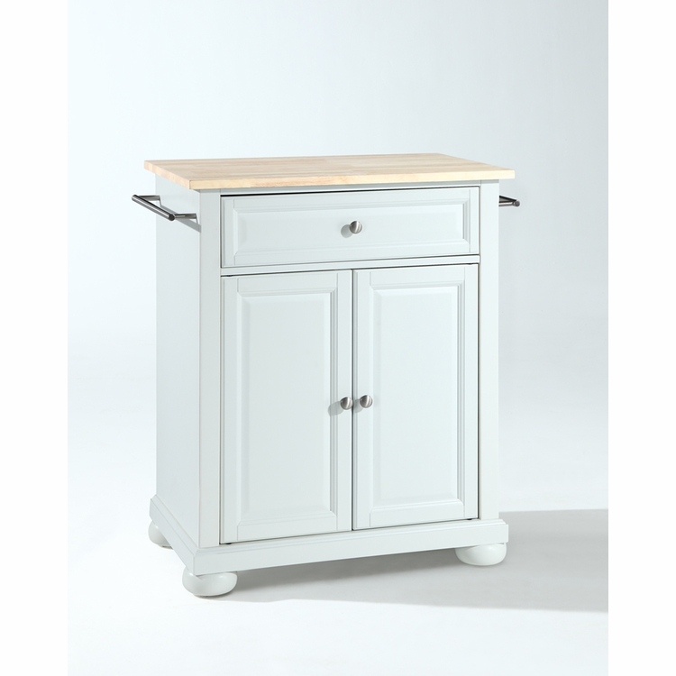 Crosley Furniture - Alexandria Natural Wood Top Portable Kitchen Island in White Finish - KF30021AWH