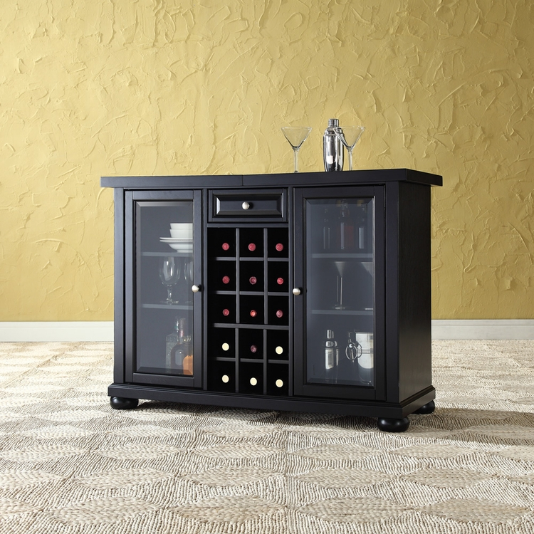 Crosley Furniture - Alexandria Sliding Top Bar Cabinet in Black Finish - KF40002ABK
