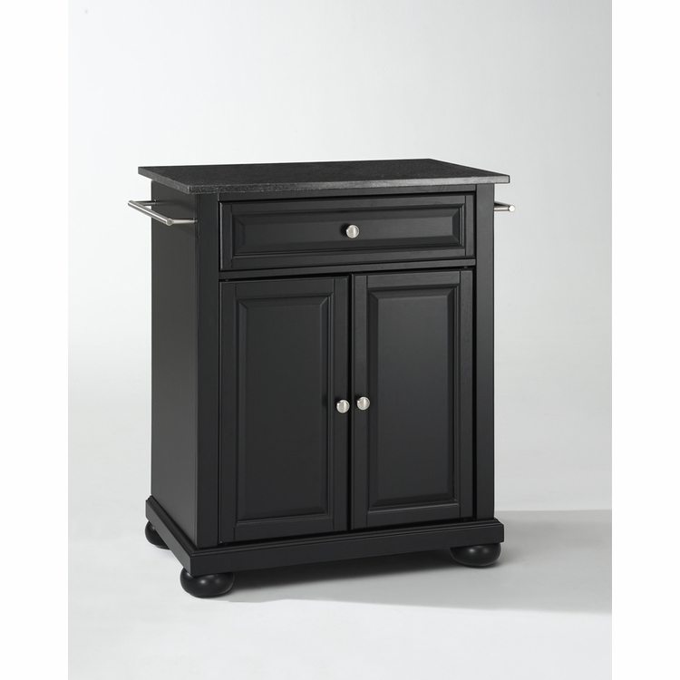 Crosley Furniture - Alexandria Solid Black Granite Top Portable Kitchen Island in Black Finish - KF30024ABK
